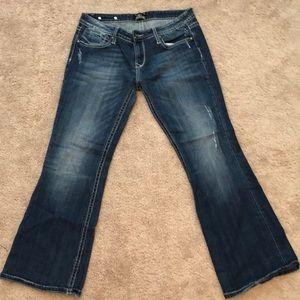 Rerock for Express Low Rise Bootcut Denim Jeans